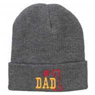 Number 1 Dad Outline Embroidered Long Beanie - Grey