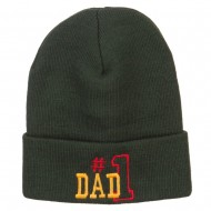 Number 1 Dad Outline Embroidered Long Beanie - Olive
