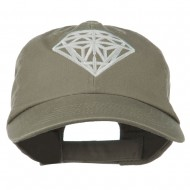 Diamond Jewelry Logo Embroidered Low Profile Washed Cap - Olive