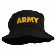 US Army Embroidered Pigment Dyed Bucket Hat - Black