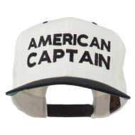 American Captain Embroidered Snapback Cap - Natural Black
