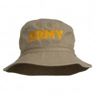 US Army Embroidered Pigment Dyed Bucket Hat - Khaki