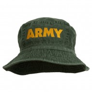 US Army Embroidered Pigment Dyed Bucket Hat - Green