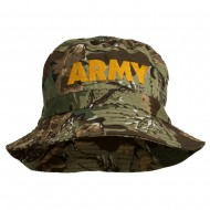 US Army Embroidered Pigment Dyed Bucket Hat - Camo