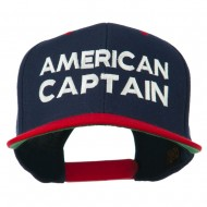 American Captain Embroidered Snapback Cap - Navy Red