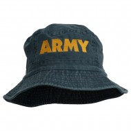 US Army Embroidered Pigment Dyed Bucket Hat - Navy