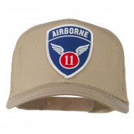 11th Airborne Military Patched Mesh Cap - Khaki