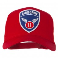 11th Airborne Military Patched Mesh Cap - Red
