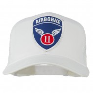 11th Airborne Military Patched Mesh Cap - White