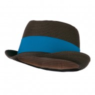 Boy's UPF 50+ Ribbon Straw Fedora - Brown