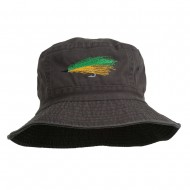 Fly Fishing Embroidered Washed Cotton Bucket Hat - Charcoal