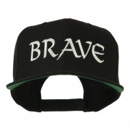 Brave Embroidered Flat Bill Cap - Black