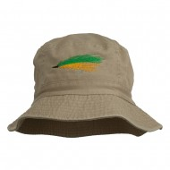 Fly Fishing Embroidered Washed Cotton Bucket Hat - Khaki