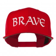 Brave Embroidered Flat Bill Cap - Red