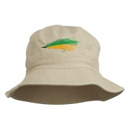 Fly Fishing Embroidered Washed Cotton Bucket Hat - Natural