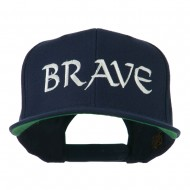 Brave Embroidered Flat Bill Cap - Navy