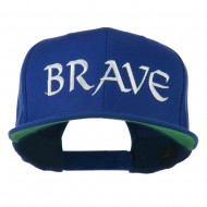 Brave Embroidered Flat Bill Cap - Royal