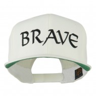 Brave Embroidered Flat Bill Cap - White