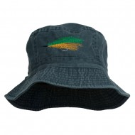 Fly Fishing Embroidered Washed Cotton Bucket Hat - Navy