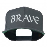Brave Embroidered Flat Bill Cap - Grey
