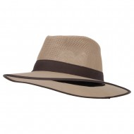 Men's Cotton Canvas Open Mesh Crown Large Brim Fedora Hat - Tan