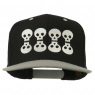 Halloween 8 Skulls Embroidered Snapback Cap - Black Silver