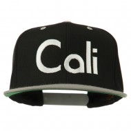 Cali Embroidered Snapback Cap - Black Silver