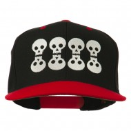 Halloween 8 Skulls Embroidered Snapback Cap - Black Red