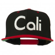 Cali Embroidered Snapback Cap - Black Red