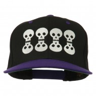 Halloween 8 Skulls Embroidered Snapback Cap - Black Purple