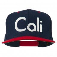 Cali Embroidered Snapback Cap - Navy Red