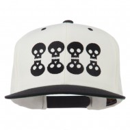 Halloween 8 Skulls Embroidered Snapback Cap - Natural Black