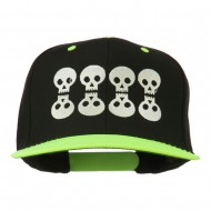 Halloween 8 Skulls Embroidered Snapback Cap - Neon Yellow