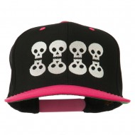 Halloween 8 Skulls Embroidered Snapback Cap - Black Pink
