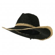 Edge Detail Crochet Cowboy Hat - Black