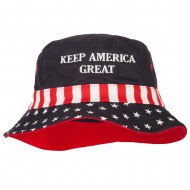 Keep America Great Two Line Letters Embroidered USA Flag Bucket Hat - Red White Blue