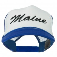 Maine State Embroidered Mesh Cap - Royal White