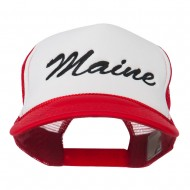 Maine State Embroidered Mesh Cap - Red White Red