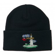 Santa Clause Flying Reindeers Embroidered Beanie - Navy