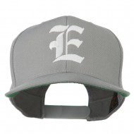 Old English E Embroidered Flat Bill Cap - Silver