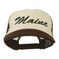 Maine State Embroidered Mesh Cap - Brown Tan