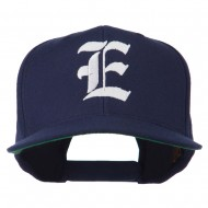 Old English E Embroidered Flat Bill Cap - Navy