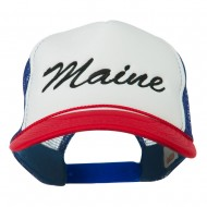 Maine State Embroidered Mesh Cap - Red White Royal
