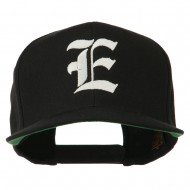 Old English E Embroidered Flat Bill Cap - Black