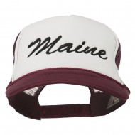 Maine State Embroidered Mesh Cap - Maroon White
