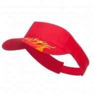 Embroidered Flame Cotton Visor - Red