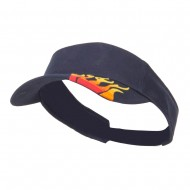 Embroidered Flame Cotton Visor - Navy