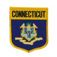Eastern State Flag Embroidered Patch Shield - Connecticut
