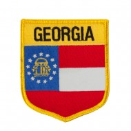 Eastern State Flag Embroidered Patch Shield - Georgia
