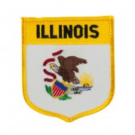Eastern State Flag Embroidered Patch Shield - Illinois
